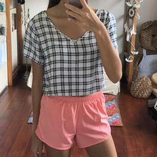 Bamboo Blonde Crop Top blue and white checkerbox