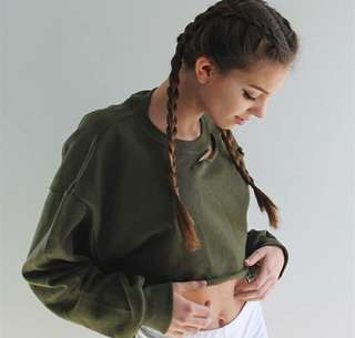 army green crop pullover