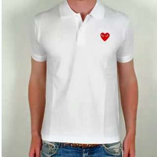 Play red heart polo white