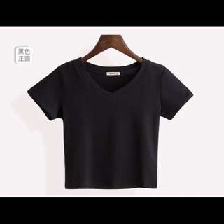 Basic Plain Cropped V-Neck Top (P.O.)