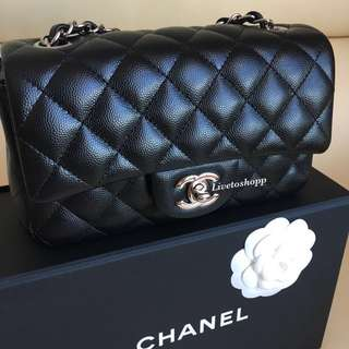 (SOLD) Chanel Rectangular Mini Flap Bag in Black Caviar Leather SHW