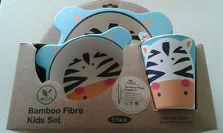 brand new! bamboo fibre kids dining set (by ecoware)
