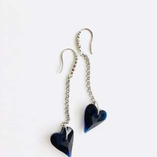 Swarovski Navy Blue Heart Shape Drop Earrings