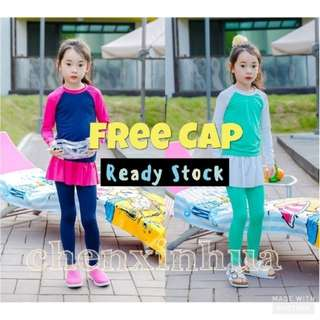 Ready Stock❤Kids Swimming Suit/Muslimah Swimwear Long Sleeve Long Pants