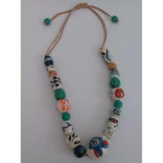 Ceramic Ethnic Beads Necklace - Almost New