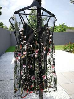 Sheer Dress with Floral Embroidery