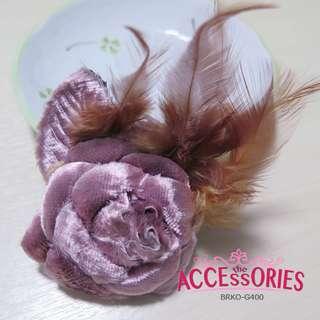 Curly Brown Rose (Brooch) - Sale