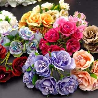 手工DIY配件花 創意喜糖仿真花 一包60朵 粉色和裸膚色