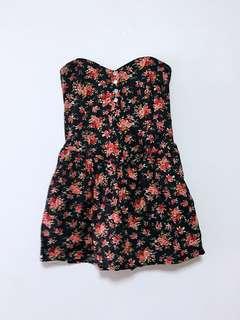 Black flowers tube dress