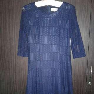Begs Brand Size M Dark Blue Dress 3/4 Long Sleeve Condition Good