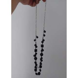 PRICE DROP! Black Beads Double Silver Chain Necklace - Almost New