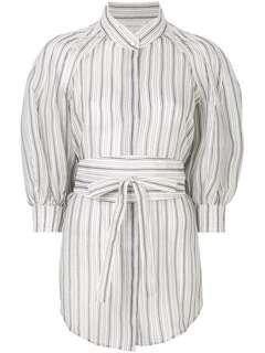 Striped silk- linen blouse