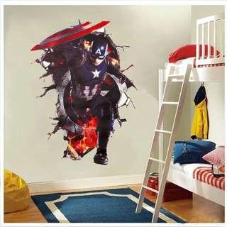 Captain America Wallsticker Wallpaper Sticker Dekorasi Dinding Promo