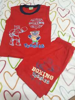 Boys Red Sando Terno (fits to 1-3yrs old)