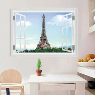 Wallsticker Wallpaper 3d Sticker Eiffel View Promo