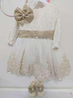 Baby girl dress headband and shoes set princess style size 0