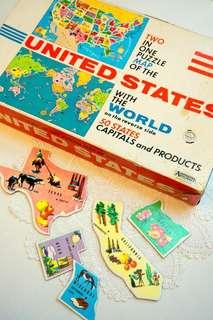 古董美國地圖+世界地圖二合一拼圖遊戲