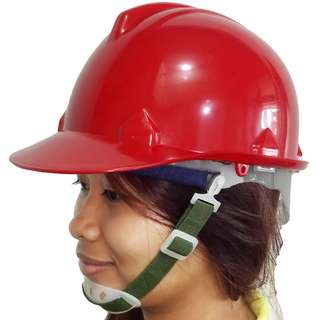 Meisons hard hat safety helmet RED PE w/ liner & chin strap