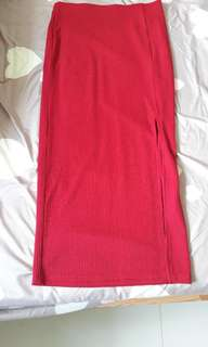 3 for $12 Red ribbed maxi skirt