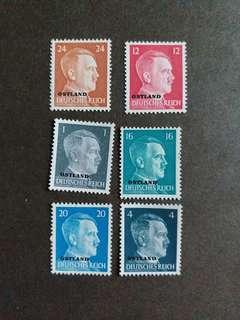 二戰纳税德國1941年佔領東方波羅的诲三國希特勒郵票B