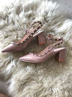 Brand new nude block heel sling back with studs