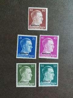 二戰纳税德國1941年佔領東方波羅的诲三國希特勒郵票 C