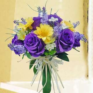 [FREE DELIVERY] Artificial Purple Roses Hand-bouquet (001-ATB)