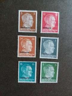 二戰纳税德國 1941年佔領東方波羅的诲三國希特勒郵票 D