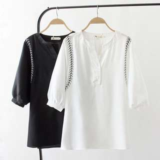 (XL~4XL) 2018 summer Korean version of the simple V-neck chiffon embroidery lantern sleeve shirt