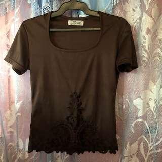 brown silk-type shirt
