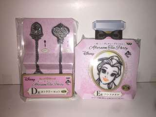 Disney Princess 迪士尼公主 一番賞 D賞+E賞 美女與野獸 貝兒 Belle 餐具SET 毛巾