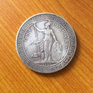 British Trade Dollar 1900 B silver coin