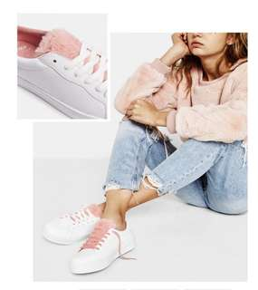 Bershka White Sneakers with Faux Fur trim