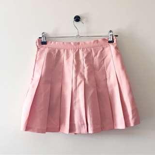 Pink Pleated Miniskirt