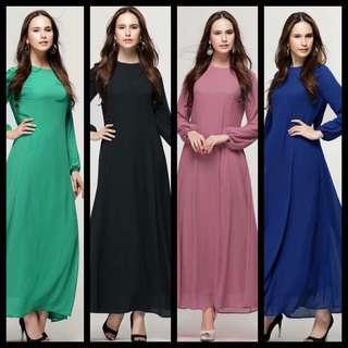 Sale princess cut Chiffon Long dress Jubah Abaya