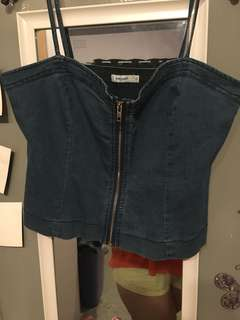 Denim zip up crop top
