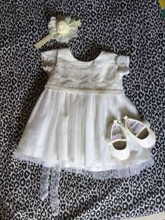 Baptismal dress and shoes set for 6 months baby girl