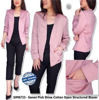 Simply styled sweet pink shine cotton open structured blazer