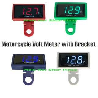 Motorcycle Volt Meter Slim LED Display with Bracket Voltmeter Universal 12V Digital