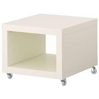 全新 IKEA Lack 白色有轆木茶几