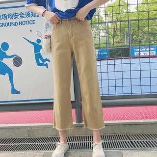 (S~5XL) High waist loose female summer straight pants casual pants