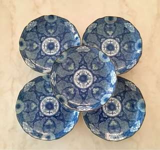 Set of 5 pcs Japanese blue & white porcelain plates