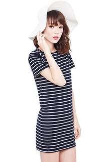AWE Cosette Navy Striped Dress