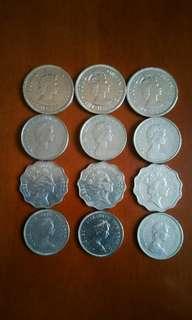 香港硬幣:大1元1960年3個/5元80年3個/2元90年3個/小1元80年/>共12個