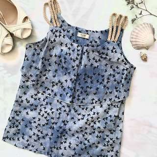 Blue Butterfly Silky Top