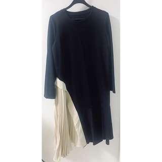Tracyeinny Pleated Office Dress Long Sleeve