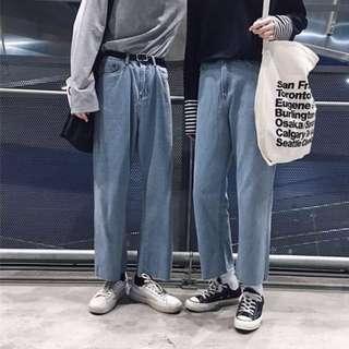🚚 春季情侶牛仔褲寬褲直筒褲休閒褲工作褲Pants Work pants Casual pants Jeans