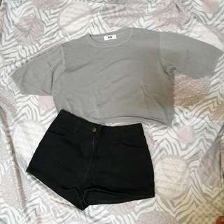 Gray Crop with black highwaist shorts