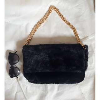 Black fur shoulder bag