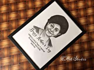 Potrait Drawing With Frame